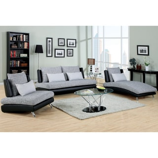 Furniture of America Kanchy Contemporary 3-piece 2-tone Fabric-Leatherette Sofa Set