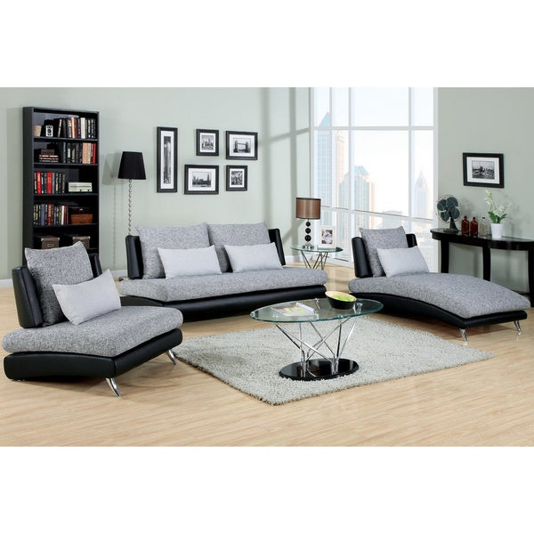 america kanchy contemporary 3 piece 2 tone fabric leatherette sofa set