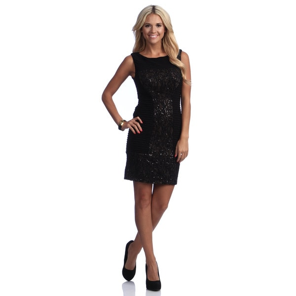 Adrianna Papell Embellished Mixed Texture Sheath Dress