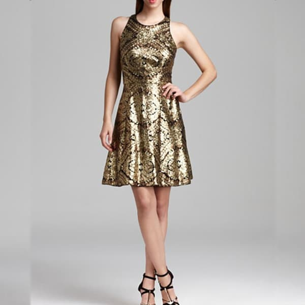 Adrianna Papell Women's Racerback Gold Sequin A-line Dress