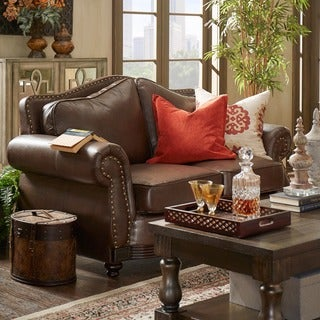 Myles Traditional Chocolate Bonded Leather Rolled Arm Loveseat by iNSPIRE Q Classic
