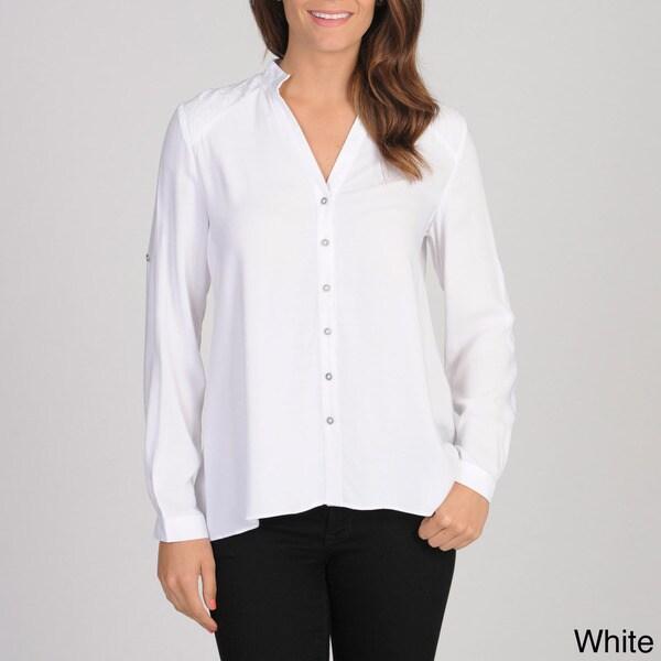 Spense Women's Lace Shoulder Button-up Blouse
