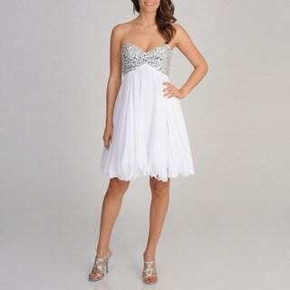 Betsy & Adam Women's White Rhinestone Bust Strapless Dress