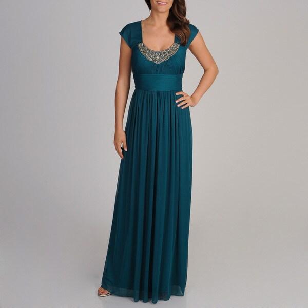 Decode 1.8 Women's Teal Embellished Neckline Gown