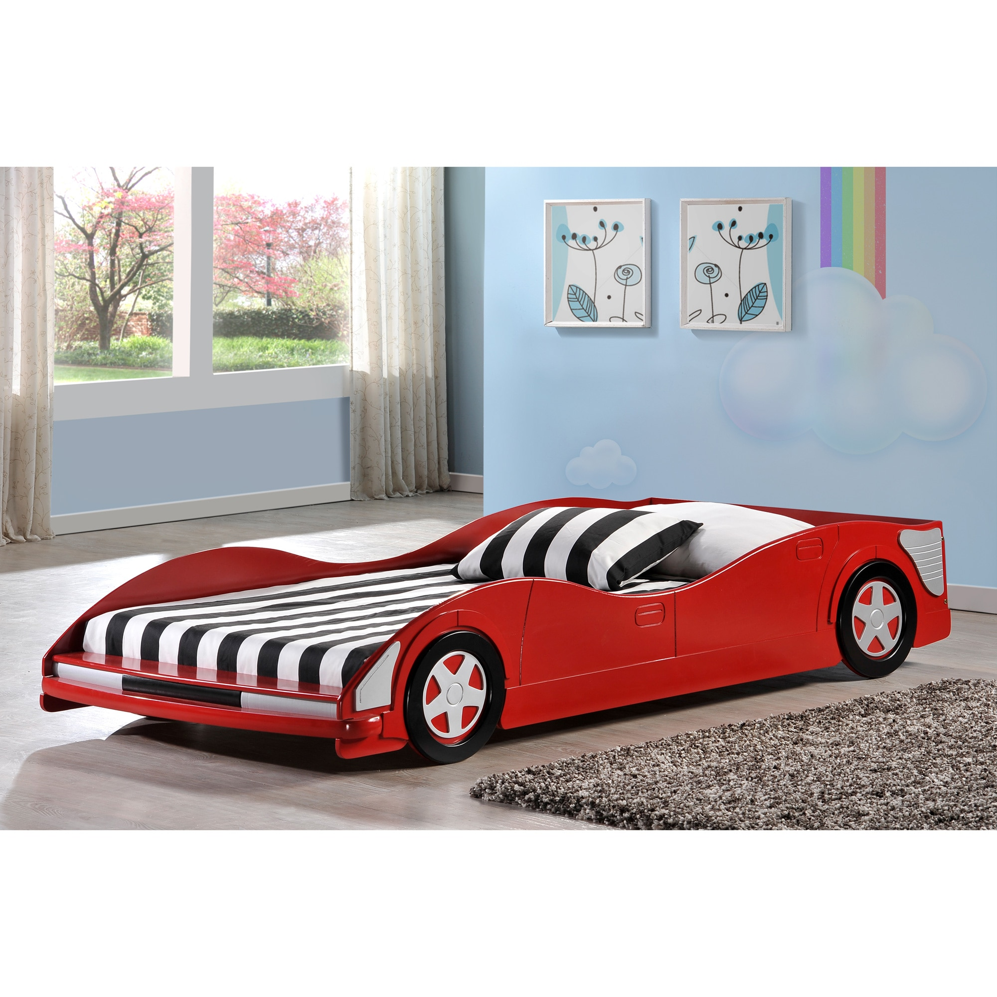 Donco Kids Red Race Car Twin Bed (Twin, Red)