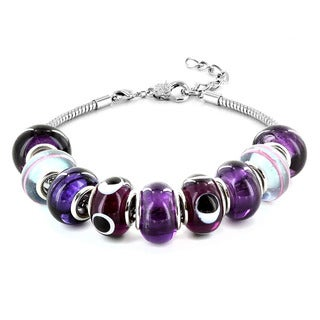Silvertone Purple, White and Black Murano Glass Bead Bracelet
