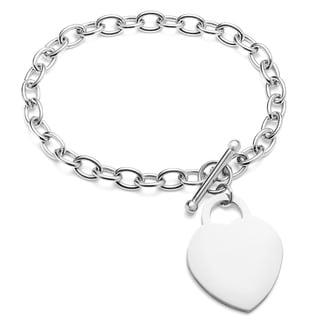 ELYA Stainless Steel Polished Heart Charm Bracelet