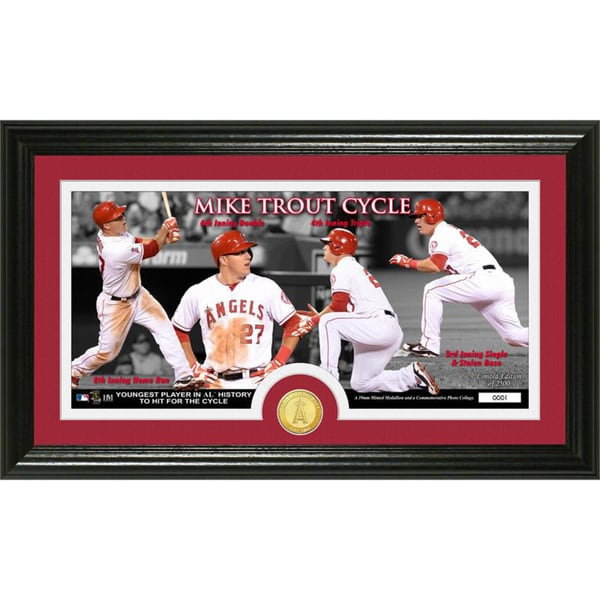 Mike Trout 'Cycle' Bronze Coin Panoramic Photo Mint
