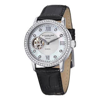 Stuhrling Original Women's Memoire Automatic Austrian Crystal Leather Strap Watch|https://ak1.ostkcdn.com/images/products/8126249/P15472185.jpg?impolicy=medium