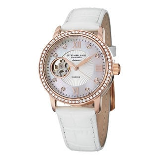Stuhrling Original Women's Memoire Automatic Austrian Crystal Leather Strap Watch