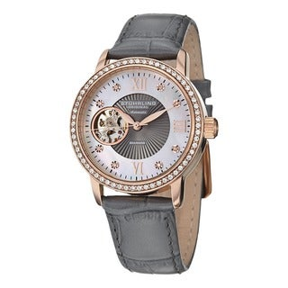 Stuhrling Original Women's Memoire Automatic Austrian Crystal Leather Strap Watch