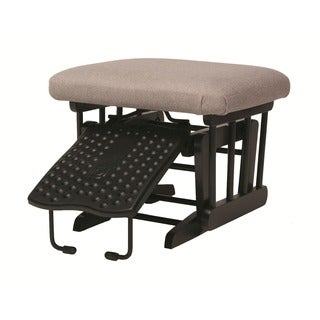 Dutailier Ultramotion Ottoman for Sleigh and 2-post Gliders in Coffee Finish Light Grey Fabric