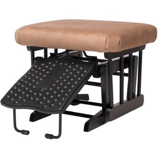 Dutailier Ottoman for Sleigh and 2-post Gliders in Espresso Finish Light Brown Fabric