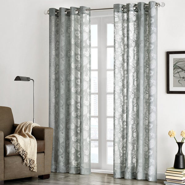Madison Park 'Chace' Burnout Paisley Print Sheer Curtain Panel ...