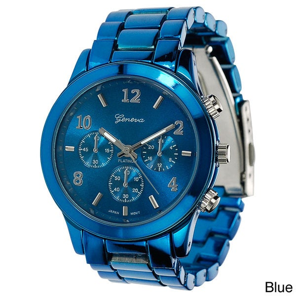Shop Geneva Platinum Women S Blue Link Watch Free