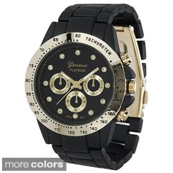 Geneva Platinum Women's Link Watch with Colored Metal Dial