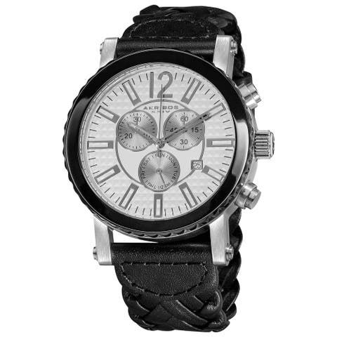 Akribos XXIV Men's Swiss Quartz Water Resistant Braided Black Strap Chronograph Watch - White