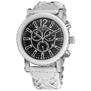 Akribos XXIV Men's Swiss Quartz Braided Stainless Steel White Strap Chronograph Watch - silver