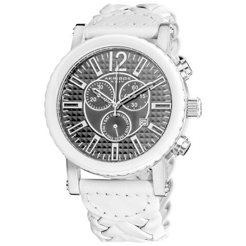 Akribos XXIV Men's Swiss Quartz Braided Stainless Steel White Strap Chronograph Watch - silver