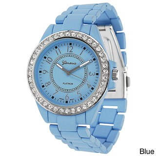 Geneva Platinum Women's Polished Bezel Link Watch