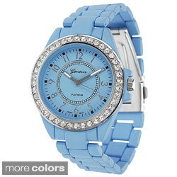 Geneva Platinum Women's Polished Bezel Link Watch