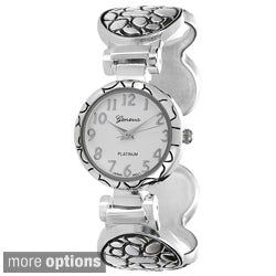 Geneva Platinum Women's Textured Metal Concho Cuff Watch