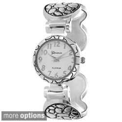 Geneva Platinum Women's Textured Metal Concho Cuff Watch
