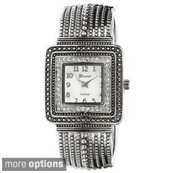 Geneva Platinum Women's Water-resistant Rhinestone-accented Cuff Watch
