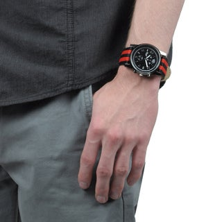 Geneva Platinum Men's Canvas Strap Water-resistant Watch