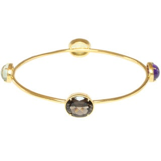 Michael Valitutti Gold over Sterling Silver Oro Verde, Amethyst, Prasiolite and Smoky Quartz Bracelet