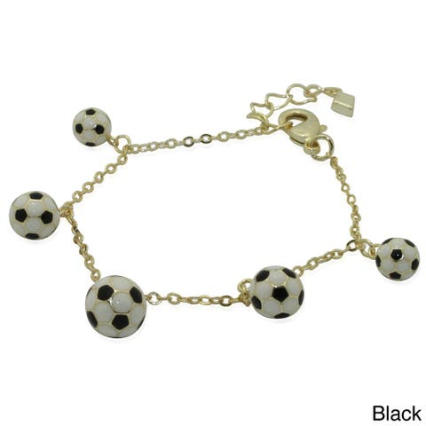 Junior Jewels 18k Gold Overlay Children's Enamel Soccer Ball Bracelet