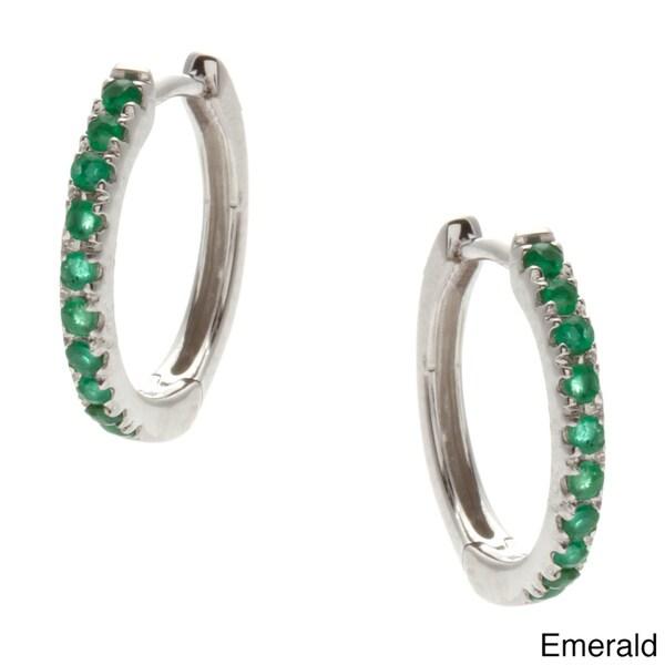 Kabella 14k White Gold Sapphire, Ruby or Emerald Hoop Earrings