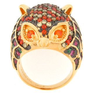 Meredith Leigh Gold over Silver Multi-colored Cubic Zirconia Owl Ring
