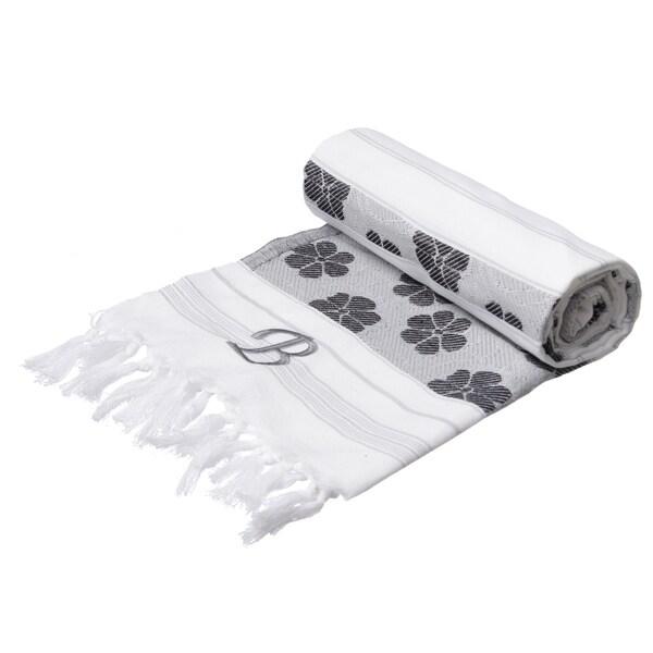 Authentic Pestemal Fouta Black/White Floral Jacquard Turkish Cotton Bath/ Beach Towel with Monogram Initial