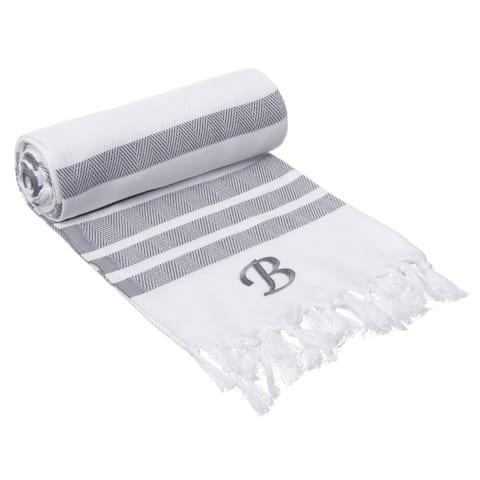 Authentic Grey Bold Stripe Pestemal Fouta Turkish Cotton Bath/ Beach Towel with Monogram Initial