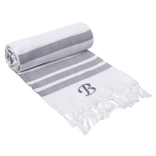 Authentic Grey Bold Stripe Pestemal Fouta Turkish Cotton Bath/ Beach Towel with Monogram Initial