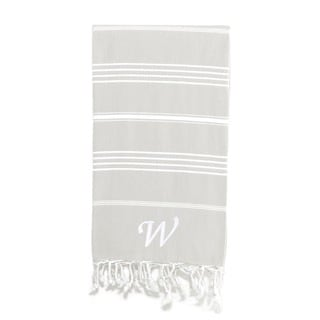 Authentic Pestemal Fouta Original Grey and White Turkish Cotton Bath/ Beach Towel with Monogram Initial