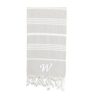Authentic Pestemal Fouta Original Grey and White Turkish Cotton Bath/ Beach Towel with Monogram Initial