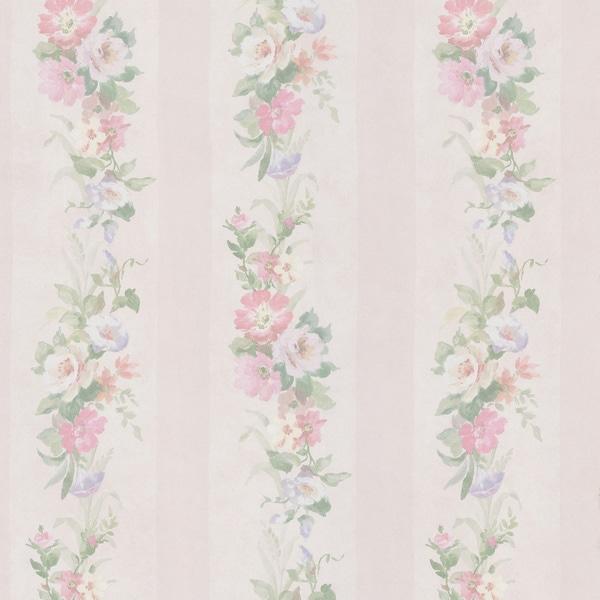 Off-white Flower Striped Wallpaper