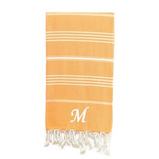 Authentic Melon Orange Pestemal Fouta Turkish Cotton Bath/ Beach Towel with Monogram Initial
