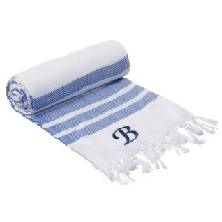 Authentic Royal Blue Bold Stripe Pestemal Fouta Turkish Cotton Bath/ Beach Towel with Monogram Initial