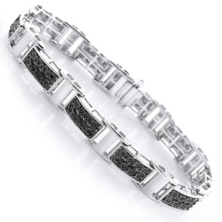 Sterling Silver Men's 1/3ct TDW Black Diamond Bracelet
