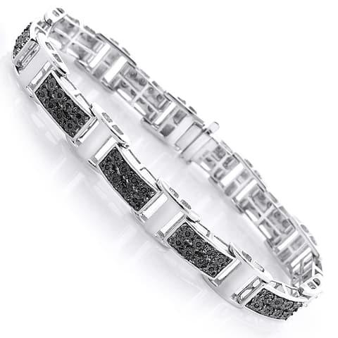 Sterling Silver Men's 1/3ct TDW Black Diamond Bracelet
