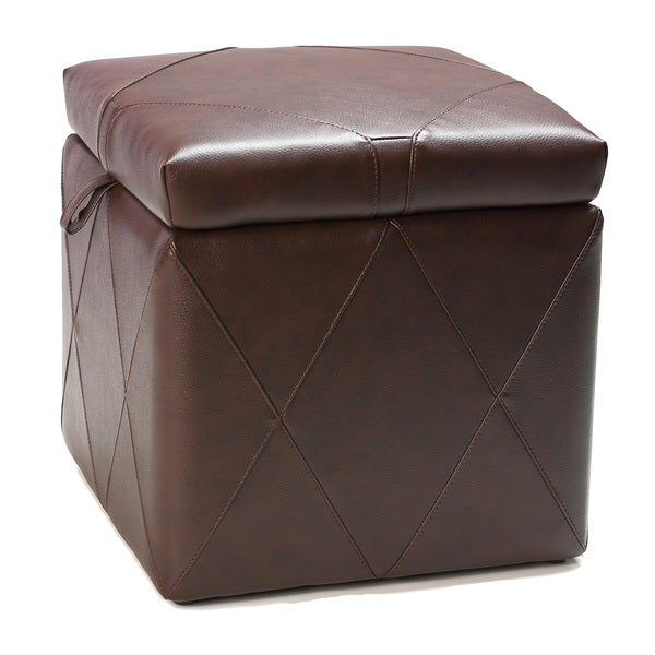 Brown Faux Leather Air Assist Lift Top Storage Ottoman