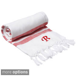 Authentic Red Bold Stripe Pestemal Fouta Turkish Cotton Bath/ Beach Towel with Monogram Initial