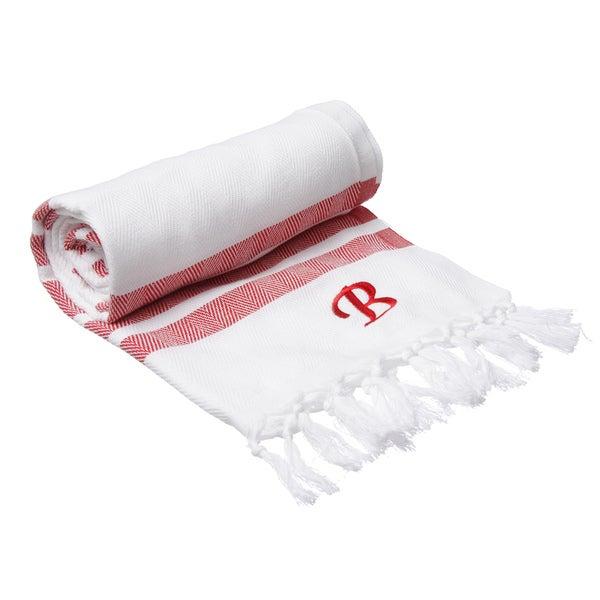Authentic Red Bold Stripe Pestemal Fouta Turkish Cotton Bath/ Beach Towel with Monogram Initial