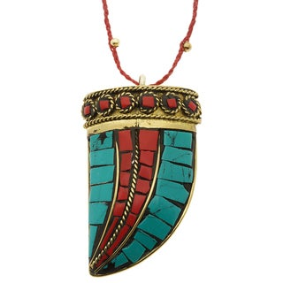 Lola's Jewelry Brass Turquoise and Coral 'Cuerno Rojo' Horn Necklace (2 options available)