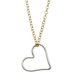 Lola's Jewelry Sterling Silver and 14K Goldfill 'To the Center of My Heart' Heart Charm Necklace