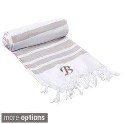 Authentic Pestemal Fouta Tan Bold Stripe Turkish Cotton Bath/ Beach Towel with Monogram Initial (More options available)
