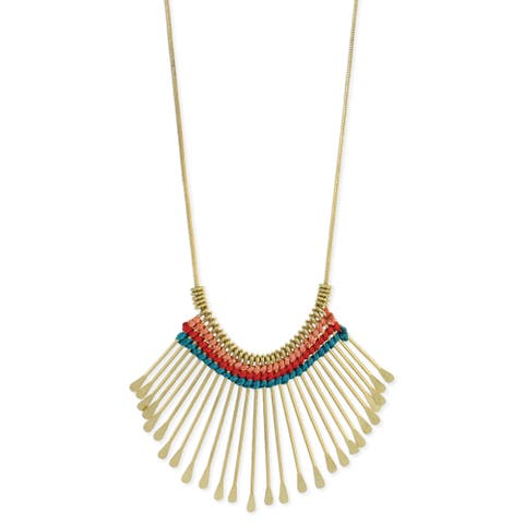 Handmade Goldtone Colorful Thread Accented Necklace (India)